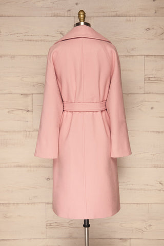 Lokvari Pink Long Felt Trench Coat | La Petite Garçonne back view