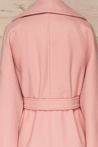 Lokvari Pink Long Felt Trench Coat | La Petite Garçonne back close-up
