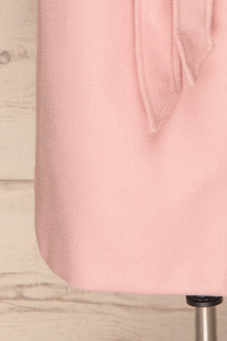 Lokvari Pink Long Felt Trench Coat | La Petite Garçonne bottom close-up
