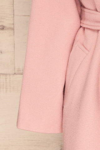 Lokvari Pink Long Felt Trench Coat | La Petite Garçonne sleeve close-up