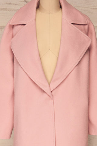 Lokvari Pink Long Felt Trench Coat | La Petite Garçonne front close-up open