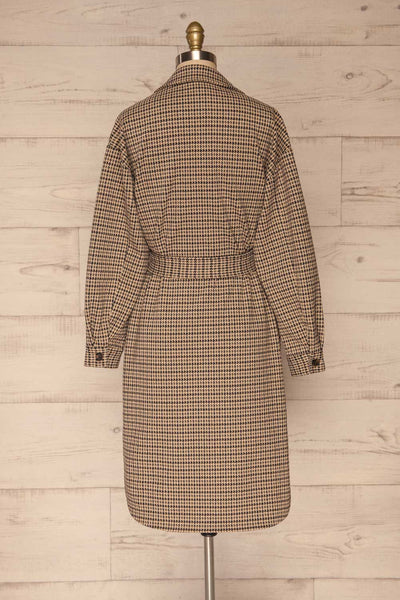 Londres Long Beige Houndstooth Coat | La petite garçonne back view