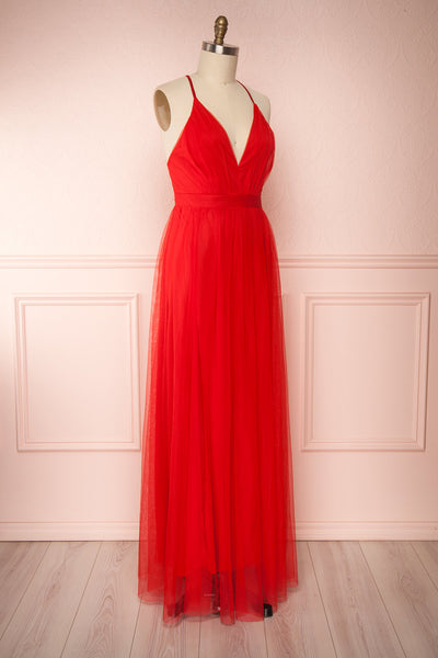 Loranne Red Mesh Maxi Dress | Robe Maxi Rouge side view | Boutique 1861