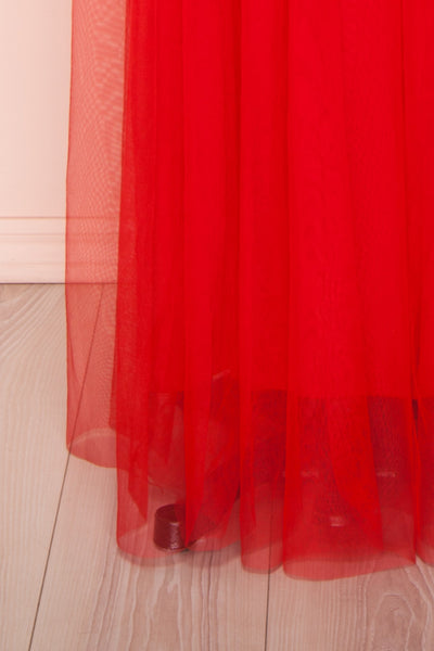 Loranne Red Mesh Maxi Dress | Robe Maxi Rouge skirt close up | Boutique 1861