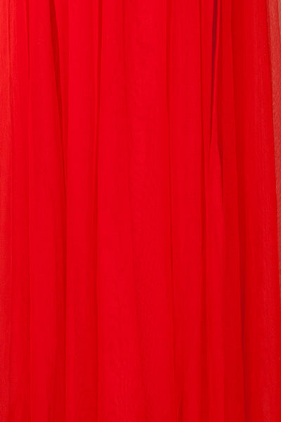 Loranne Red Mesh Maxi Dress | Robe Maxi Rouge fabric close up | Boutique 1861