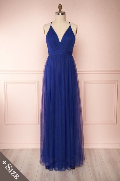 Loranne Royal Blue Maxi Dress | Robe Maxi front view | Boutique 1861