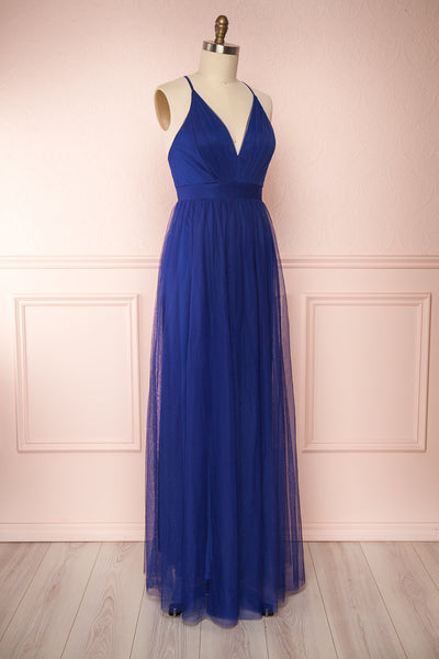 Loranne Royal Blue Maxi Dress | Robe Maxi side view | Boutique 1861