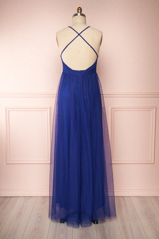 Loranne Royal Blue Maxi Dress | Robe Maxi back view | Boutique 1861