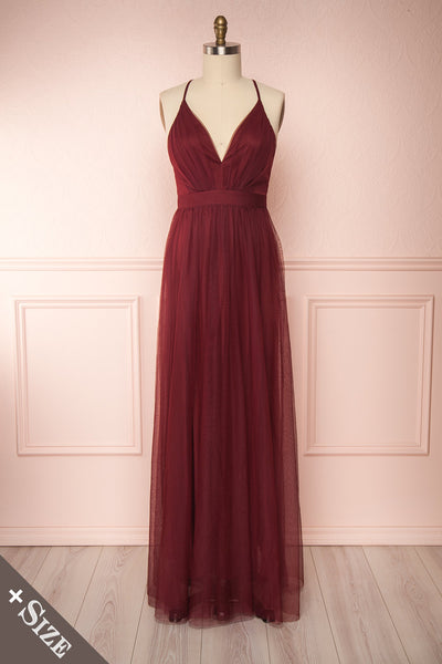 Loranne Wine Red Mesh Maxi Dress | Robe Maxi front view | Boutique 1861