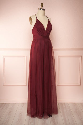 Loranne Wine Red Mesh Maxi Dress | Robe Maxi side view | Boutique 1861