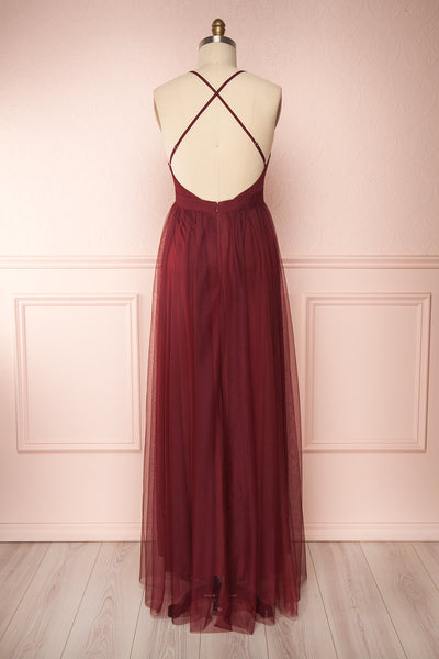 Loranne Wine Red Mesh Maxi Dress | Robe Maxi back view | Boutique 1861