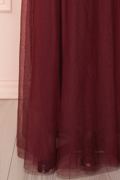 Loranne Wine Red Mesh Maxi Dress | Robe Maxi skirt close up | Boutique 1861
