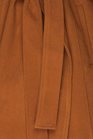 Lorialet Camel Felt Trench Coat w/ Hood texture close up | La Petite Garçonne