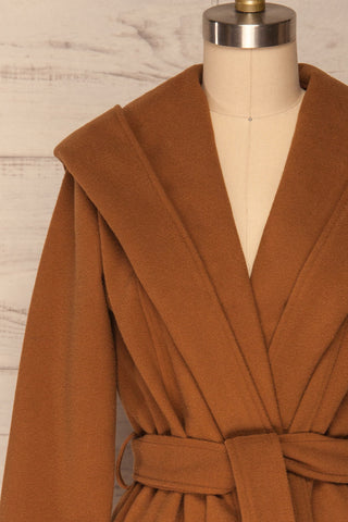 Lorialet Camel Felt Trench Coat w/ Hood front close up | La Petite Garçonne