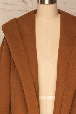 Lorialet Camel Felt Trench Coat w/ Hood front close up open | La Petite Garçonne
