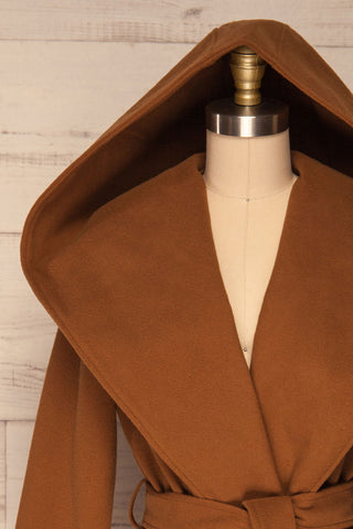 Lorialet Camel Felt Trench Coat w/ Hood hood close up | La Petite Garçonne