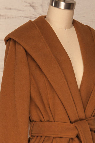 Lorialet Camel Felt Trench Coat w/ Hood side close up | La Petite Garçonne