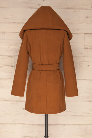 Lorialet Camel Felt Trench Coat w/ Hood backhood up | La Petite Garçonne