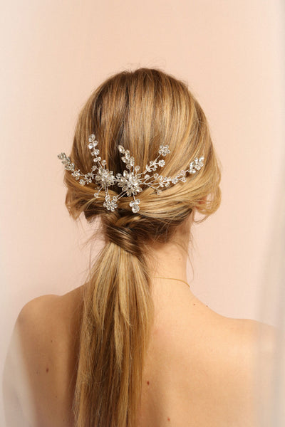 Lorna Silver Floral Crystals Hair Comb | Boudoir 1861 on model
