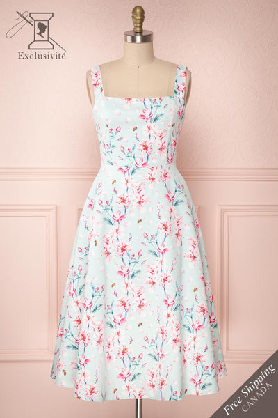 Lou-Anna Blue-Green Floral A-Line Cocktail Dress | Boutique 1861