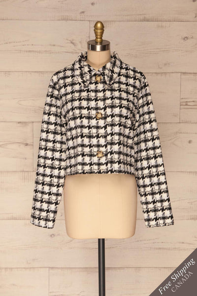 Louise Black Short Houndstooth Jacket | La petite garçonne front view