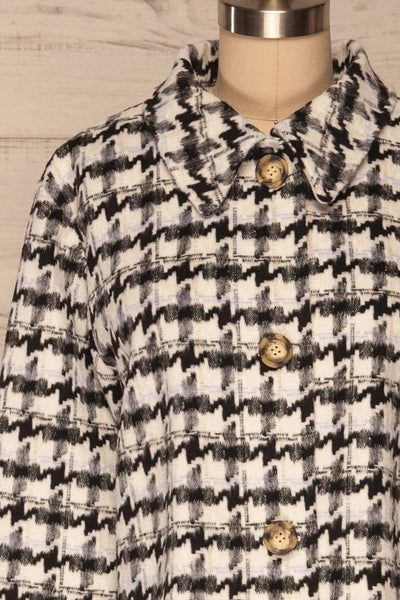Louise Black Short Houndstooth Jacket | La petite garçonne front close up