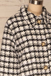 Louise Black Short Houndstooth Jacket | La petite garçonne side close up
