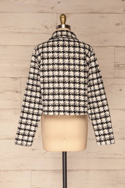 Louise Black Short Houndstooth Jacket | La petite garçonne back view