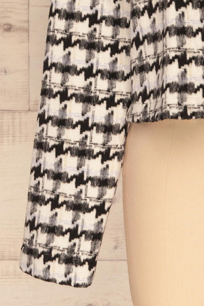 Louise Black Short Houndstooth Jacket | La petite garçonne sleeve