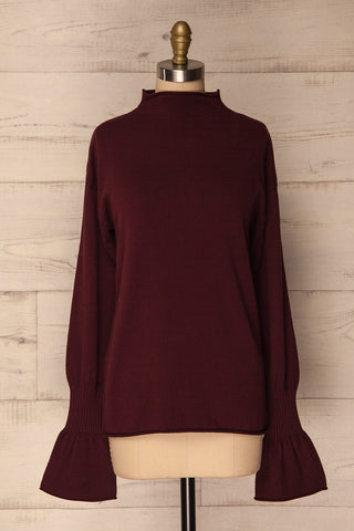 Louredo Burgundy Long Sleeved Soft Knit Sweater | La Petite Garçonne