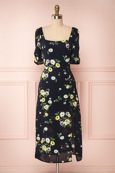 Lourosa Navy Midi Dress w/ Floral Print | Boutique 1861 fabric