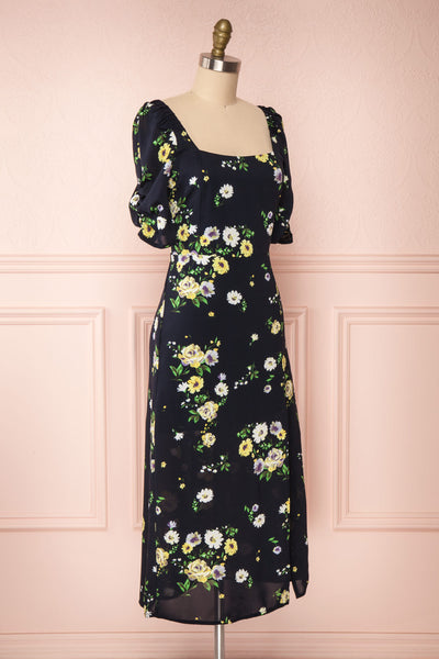 Lourosa Navy Midi Dress w/ Floral Print | Boutique 1861 side view