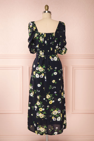 Lourosa Navy Midi Dress w/ Floral Print | Boutique 1861 back view