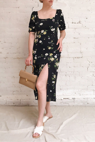 Lourosa Navy Midi Dress w/ Floral Print | Boutique 1861 model look