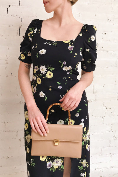 Lourosa Navy Midi Dress w/ Floral Print | Boutique 1861 on model