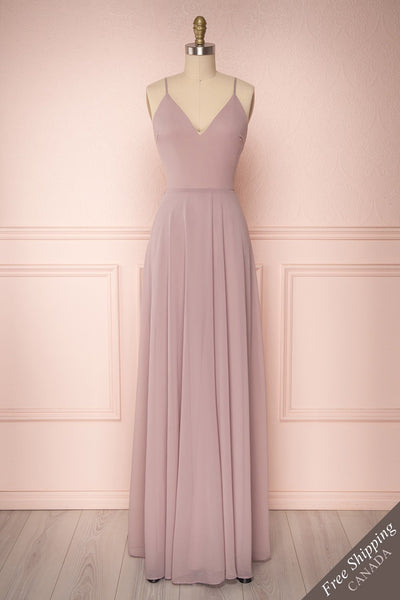 Lovina Petal Lilac Chiffon Gown with Tied Open Back | Boudoir 1861