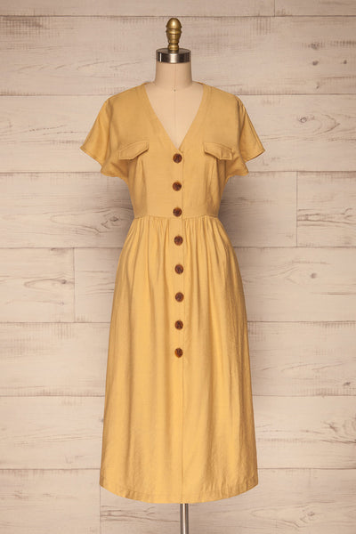 Lowenstein Yellow Button-Up Midi Dress | La petite garçonne front view