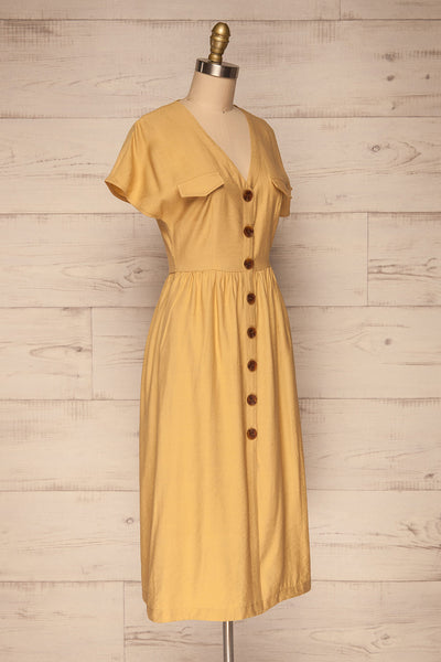 Lowenstein Yellow Button-Up Midi Dress | La petite garçonne side view