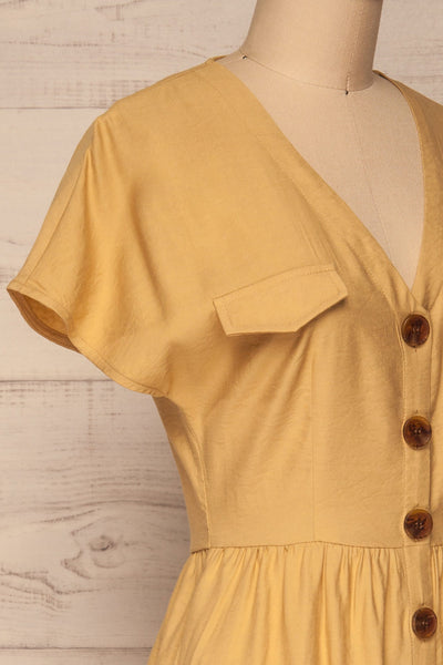 Lowenstein Yellow Button-Up Midi Dress | La petite garçonne side close-up