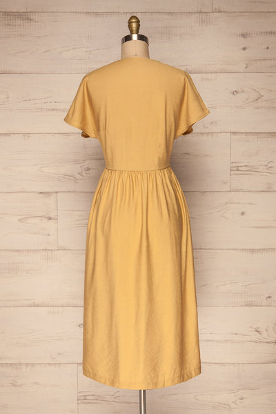 Lowenstein Yellow Button-Up Midi Dress | La petite garçonne back view
