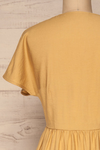 Lowenstein Yellow Button-Up Midi Dress | La petite garçonne back close-up