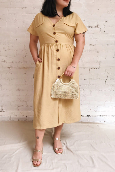 Lowenstein Yellow Button-Up Midi Dress | La petite garçonne model look