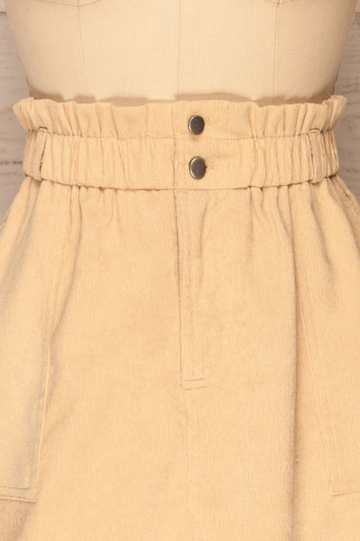 Loxley Beige Corduroy Mini Skirt | La Petite Garçonne front close-up