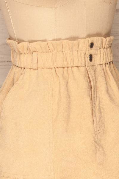Loxley Beige Corduroy Mini Skirt | La Petite Garçonne side close-up
