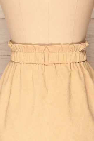 Loxley Beige Corduroy Mini Skirt | La Petite Garçonne back close-up