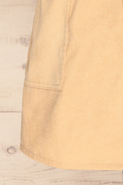 Loxley Beige Corduroy Mini Skirt | La Petite Garçonne bottom close-up