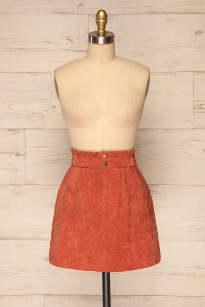 Loxley Clay Orange Corduroy Mini Skirt | La Petite Garçonne front view