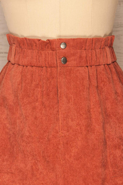 Loxley Clay Orange Corduroy Mini Skirt | La Petite Garçonne  front close-up