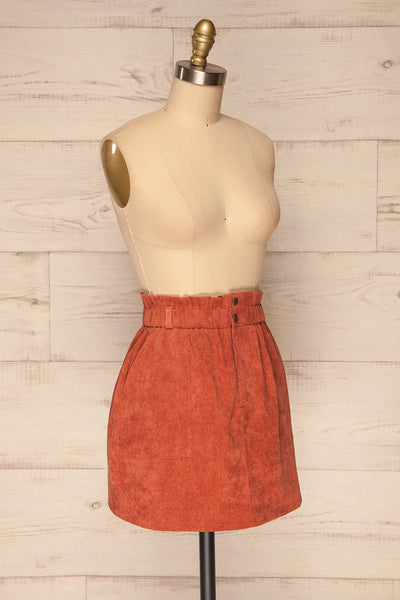 Loxley Clay Orange Corduroy Mini Skirt | La Petite Garçonne side view