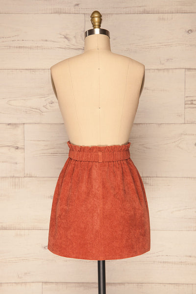 Loxley Clay Orange Corduroy Mini Skirt | La Petite Garçonne back view